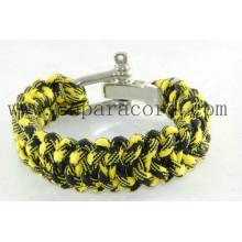 """pulseira paracord de estilo fino amarelo e preto 8 """"de comprimento"""