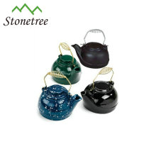 5pcs Antique Metal Thermal Insulated Cast Iron Enamel Coated Tea Pot