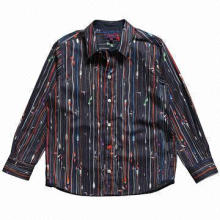 Boys Navy Blue Cotton Shirt with Computer Wire Print