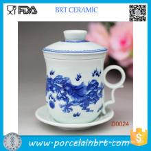 Taza china vendedora caliente de la porcelana con la tapa de cerámica
