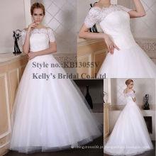 Mais popular fora do ombro mangas curtas laço corpete saia de tule trajes de vestido de casamento novo estilo para homens