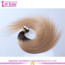 Meilleure qualité 7A qualité deux tons péruvienne remy cheveux bande extension de cheveux trame de peau