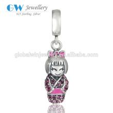 925 Silver Jewelry Beautiful CZ Girl Dangle Bead