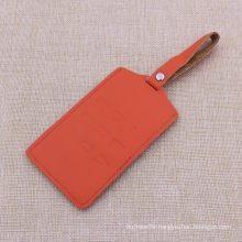 Supply Real Leather Orange Luggage Tag with Custom Color