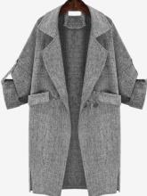 Women Fashion Solid Grey Tailored Collar Long Sleeve Cardigan Coat