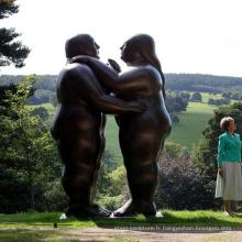 Grande statue de couple de bronze abstrait pour le parc