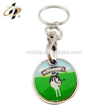Wholesale zinc alloy metal epoxy custom trolley coin key ring