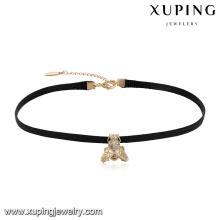 44055 En Gros à la mode dames bijoux insecte conception mouche en forme de collier ras du cou en cuir