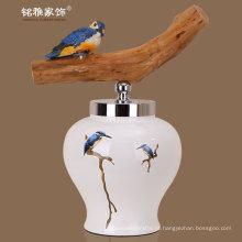 Decoração decorativa de porcelana de decoração de flor de porcelana de vasos com tampa por atacado