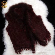 Chinese Clothing Manufacturers Wholesale Women Short Knitted Rabbit Fur Vest