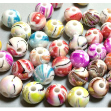 Acrylic Plastic Tie Dye AB Swirl Round Gumball Beads Charms