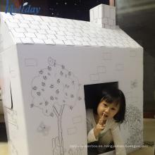 Fábrica de bricolaje cartón muñeca papel jugar casa, venta al por mayor niños cartón casa de juegos