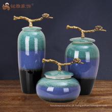Vasos de cerâmica de grande porte de cerâmica em casa de vaso de porcelana com três cores