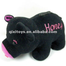 cute plush black pig toy money box