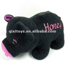 caixa de dinheiro de brinquedo de pelúcia porco preto bonito