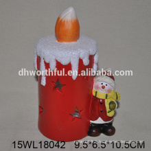 Led light christmas snowman decoration in ceramic