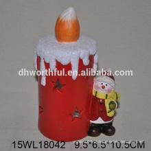 Led decoração de Natal boneco de neve em cerâmica