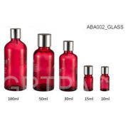 Red Cosmetic Glass Containers , 100ml / 50ml Essential Oil Glass Bottles