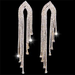Silver Big Long Rhinestone Bridal Earrings