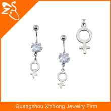 2016 fashion accessories square zoircon belly ring boy'symble hanging belly button rings