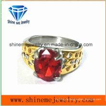 Anillo de oro de la joyería de la piedra roja del acero inoxidable