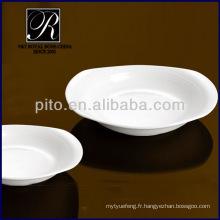 Plaques en porcelaine P & T, plaque de forme ovale profonde, plaques profondes blanches PT0210