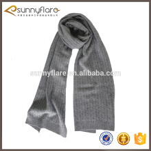 bufanda elegante de la cachemira del patrón que hace punto del cable gris del invierno para los hombres