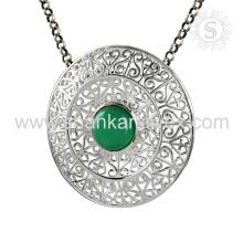 New Arrival Graceful Green Onyx Gemstone Pendant Bijoux faits à la main 925 en argent sterling Jaipur Bijoux faits à la main