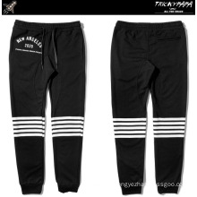 Men Knee Stripe Jogger Pants Casual Black Sweatpants