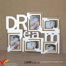 Sonho 5 abertura Antique madeira Wall Photo Frame