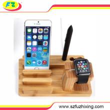 Multifuctional madera reloj titular de la pluma de teléfono móvil