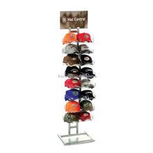 Sturdy 2 Row Sportswear Tienda al por menor Tamaño de encargo del metal que se coloca el soporte de exhibición para los sombreros