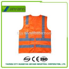 Colete de reflexiva da segurança EN20471 sólido de bolso com zíper