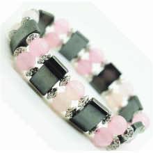 Rose quartz 8MM Perles rondes Stretch Gemstone space Bracelet avec alliage et hématite