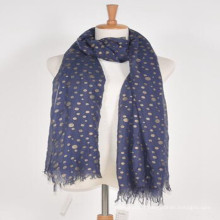 Meilleures femmes de la mode beaucoup plus long bleu plus impression couleur d'or polka dots 100% Islande laine viscose poncho écharpe laine châle