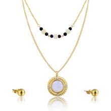 Delicada gargantilla collar de perlas Gran concha colgante indio conjunto de joyas de oro nupcial