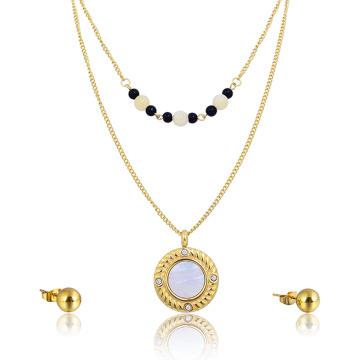 Dainty Choker Perlen Halskette Big Shell Anhänger Indische Braut Gold Schmuck-Set