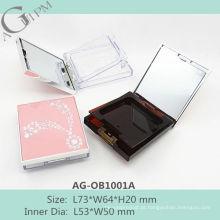 Retrô & atraente retangular compacta em pó caso com espelho AG-OB1001A, embalagens de cosméticos do AGPM, cores/logotipo personalizado