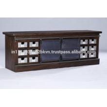 Industrial Vintage 12 Sliver Plated Schubladen und 2 Metall Schiebetüren TV Stand