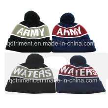 Top Quality Jacquard Stripes Acrylic Cuff POM Knitted Beanie (TMK0190)