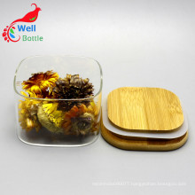 Square Borosilicate Food Container Glass jars with Bamboo Lid Storage-141RL