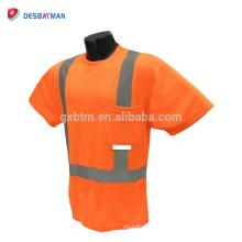 Alta visibilidad clase 2 naranja camiseta con humedad absorbente Malla reflectante Hola visibilidad manga corta seguridad ropa bolsillo