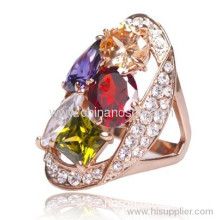 Lovely Colorful Cz Diamond Ring For Women