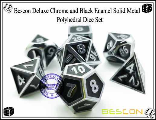 Bescon Deluxe Chrome and Black Enamel Solid Metal Polyhedral Role Playing RPG Game Dice Set (7 Die in Pack)-3