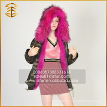 Factory Direct Cheap Price Brand Jacket Long Green Fox Fur Parka