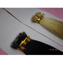 Pelo indio virginal dibujado doble negro y rubio Pelo doble nano del pelo del anillo dibujado doble
