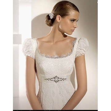 Empire Cathedral Chiffon Lace Ribbon Wedding Dress