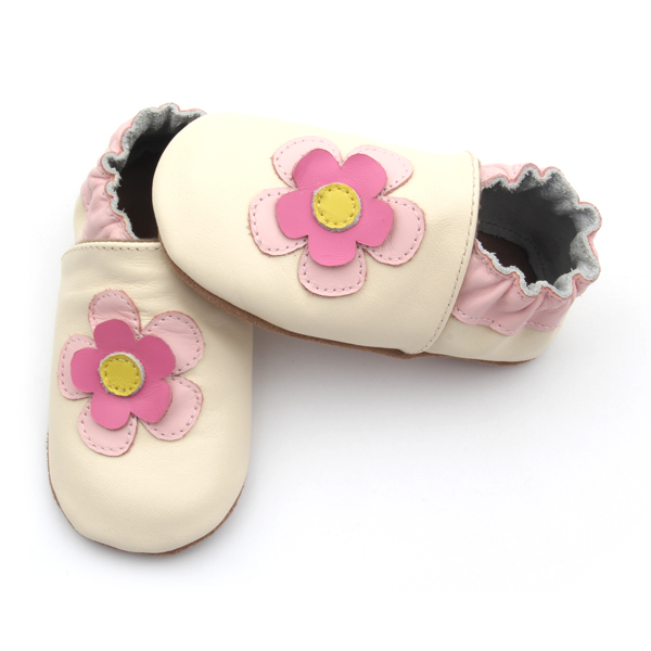 Elastic Soft Sole Leather Flower Baby Girl Shoes