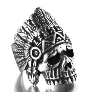 Indian chief stainless steel skull ring