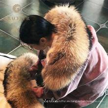 parka forrada de piel con capucha de mapache abrigo grueso abrigo parka de piel real